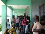 Community folks at one of the camps in Taba, Port-Au-Prince in line to receive care